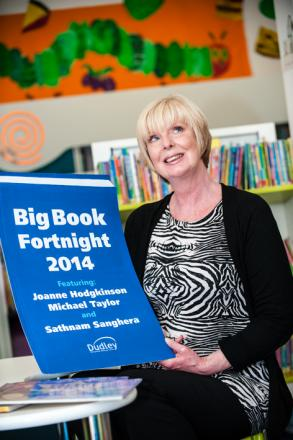 Jill Wood from Dudley Library getting ready for this year's Big Book Fortnight celebrations.
