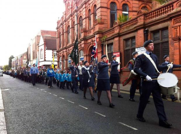Stourbridge News: The St George's Day parade in Stourbridge.