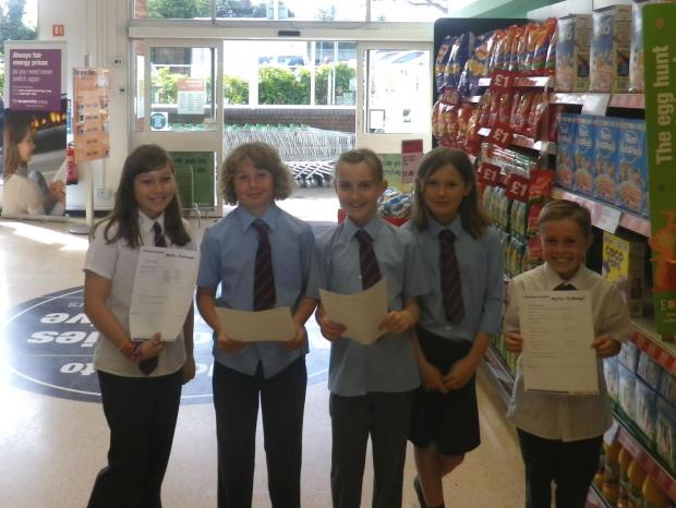 Children with their recipe cards l-r: Phoebe Jones, Nathan Appleton, Alice Mecrow, Eva Grainger and Max Lee.