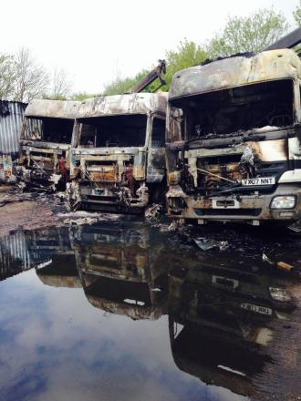 The damaged lorries. Photograph by @Stourbridgefire