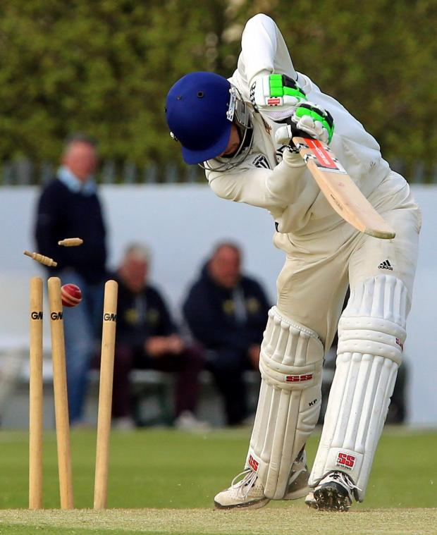 Stourbridge News: Birmingham and District Premier Cricket League Premier Division...  Kidderminster Victoria CC v Himley CC...  Himley's Jamie Harris batting 191414J (5953345)
