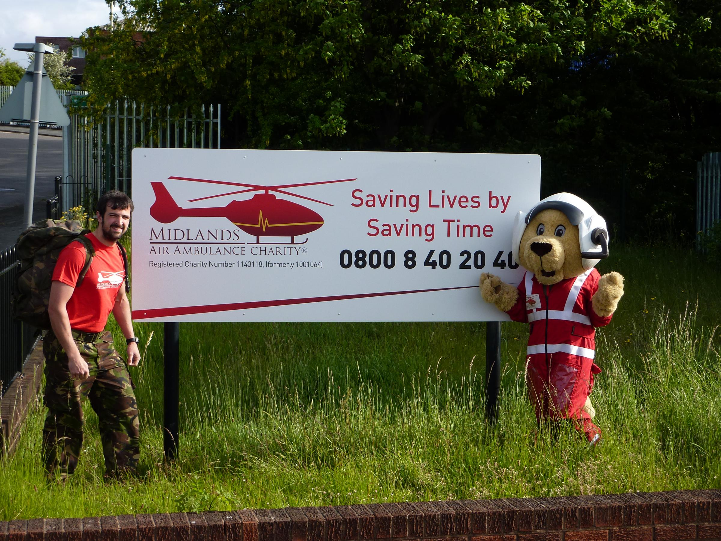 Simon Donovan with Maac, the charity's mascot.