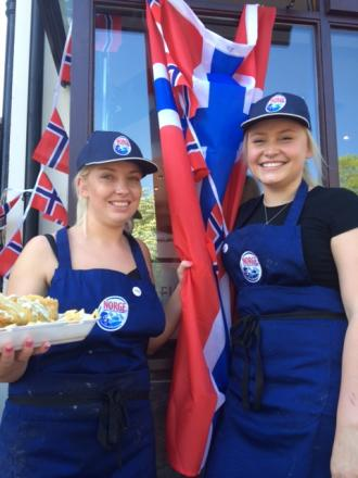 Our Plaice staff Tori Howard and Grace Mullet celebrating Norway Day.