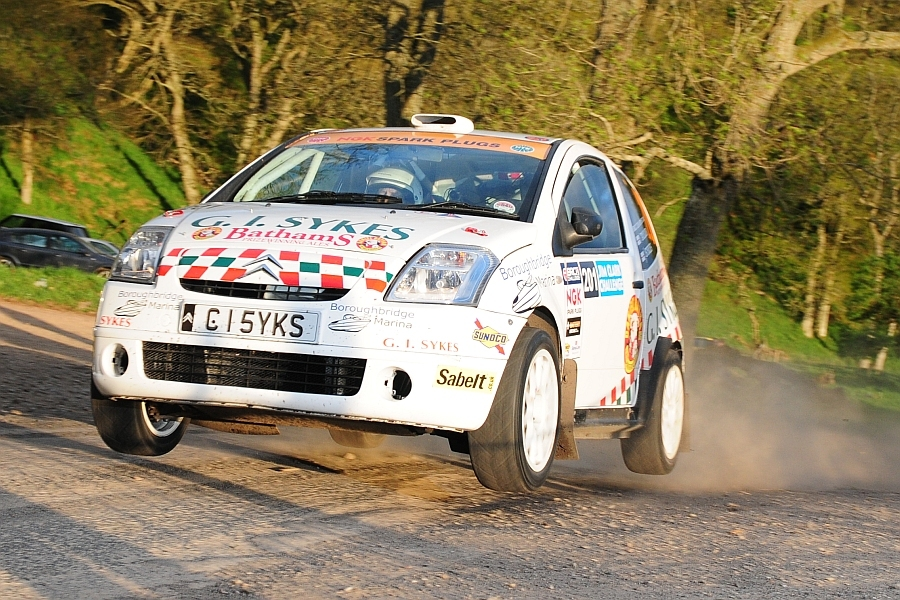 Sykes competing at the 2013 Jim Clark Challenge rally. Photo courtesy of Songasport.