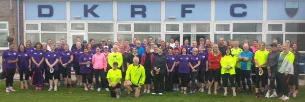 Stourbridge News: Running club members, centre, John Glover, Ingrid Cain and Jim Bibb with beginners from the 2014 course.