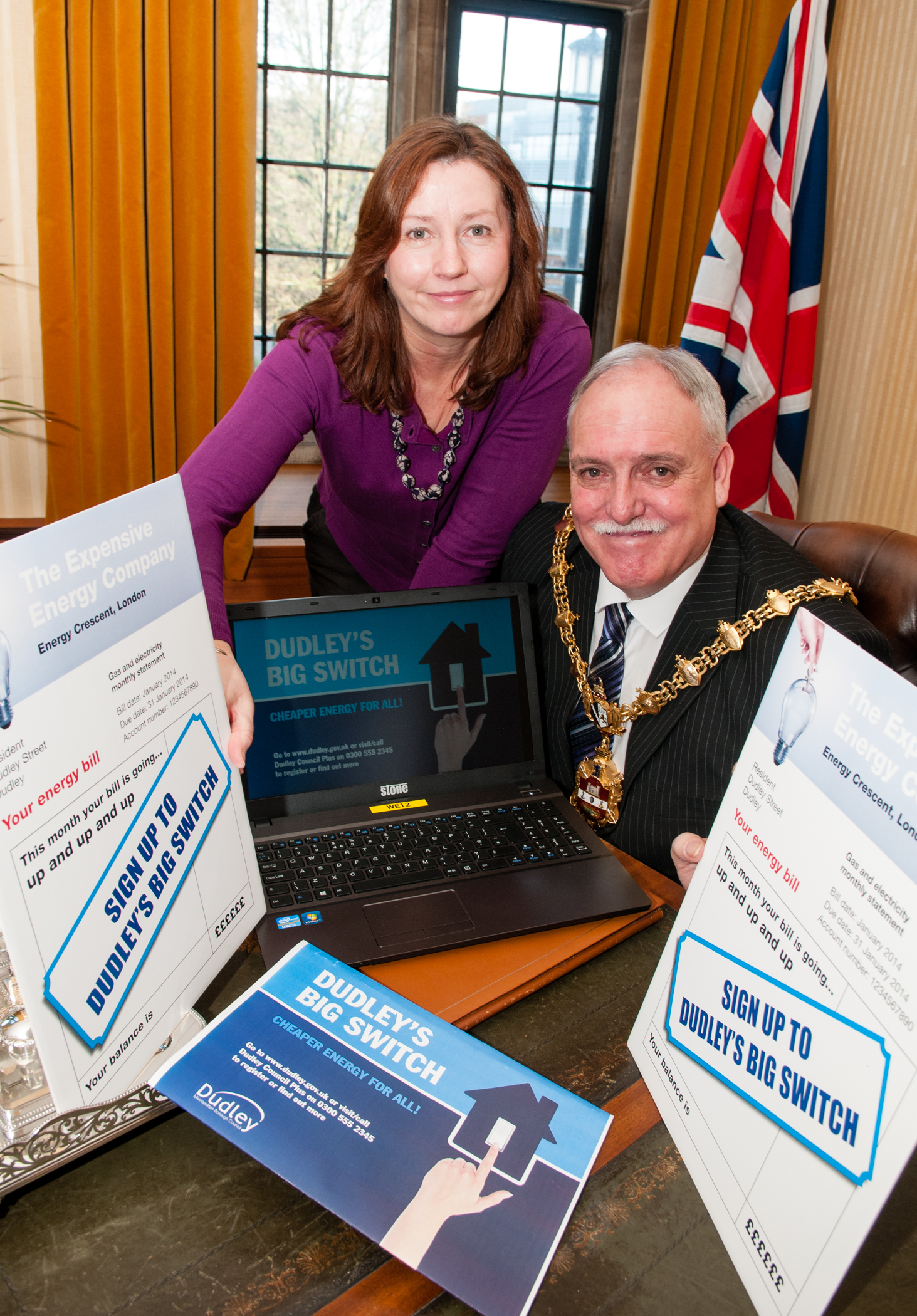 Theresa Kelly from Dudley Council with the Mayor of Dudley Councillor Alan Finch.
