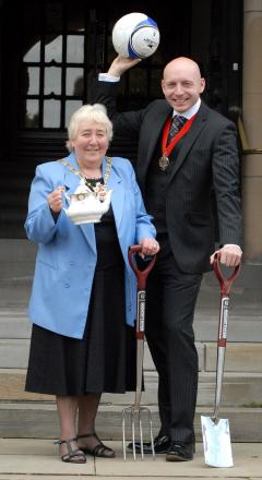 New Dudley Mayor cllr Margaret Aston and consort cllr Adam Aston. Buy this photo: 231417M.