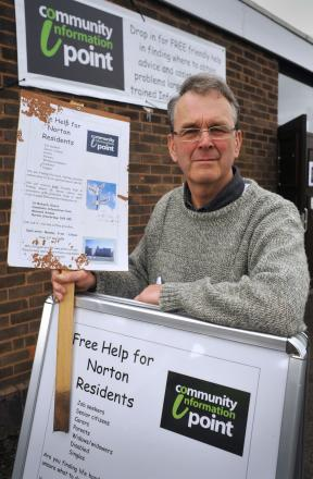Peter Dyson at the community information point.