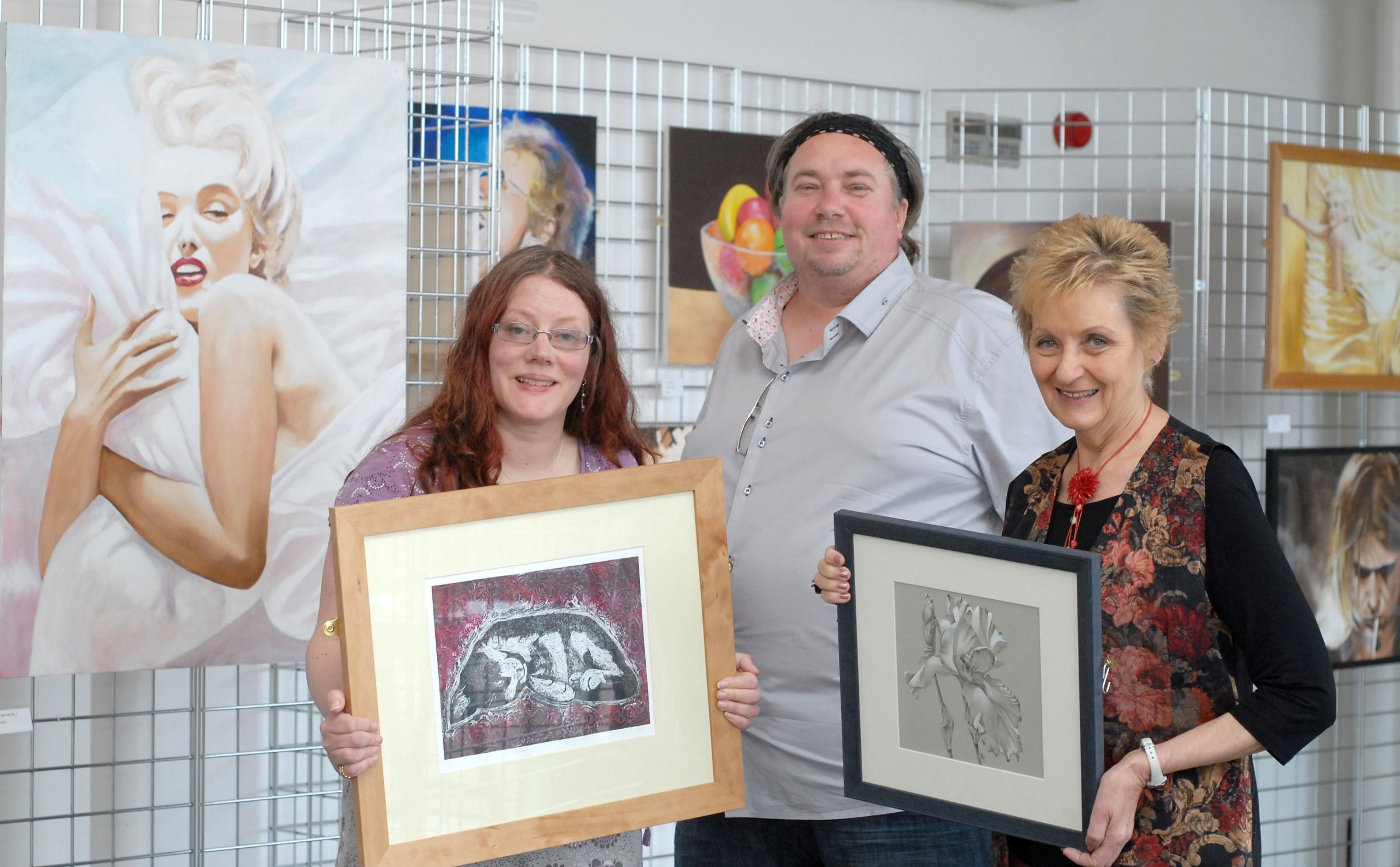 Left to right - artists Clare Sherwen, Kriswhoosh and Ann Hackett. Buy photo: 231413M