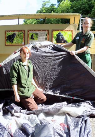 L-r Stephanie Sawyer and Nicola Wright, attempt to build their tent ahead of their challenge.