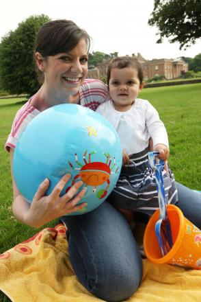 Vikki Marshall-Bashir with her 20-month-old daugter Isla Bashir get set for the under 5s day at Himley Hall