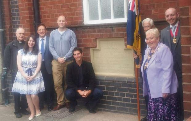 L-r - Rev Colin Jones, Cllr Glenis Simms, Cllr Derrick Heminsgley, Cllr Paul Brothwood, Chris Kelly MP,  former South Staffordshire veteran Gilbert Evans, Mayor of Dudley Cllr Margaret Aston and her consort and son - Cllr Adam Aston.