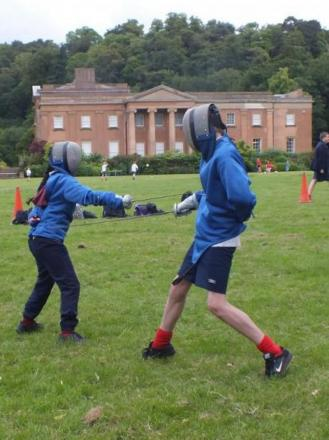 Pupils taking part in fencing.