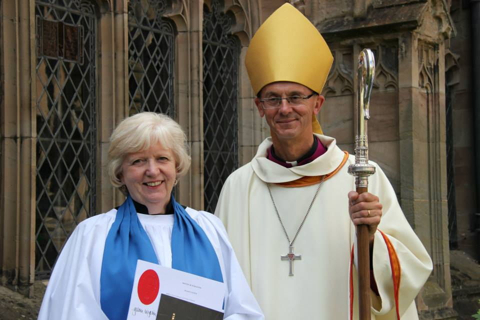 LAY READER: Christine Hickman-Smith after the admission service with the Bishop of Worcester, Dr John Inge.