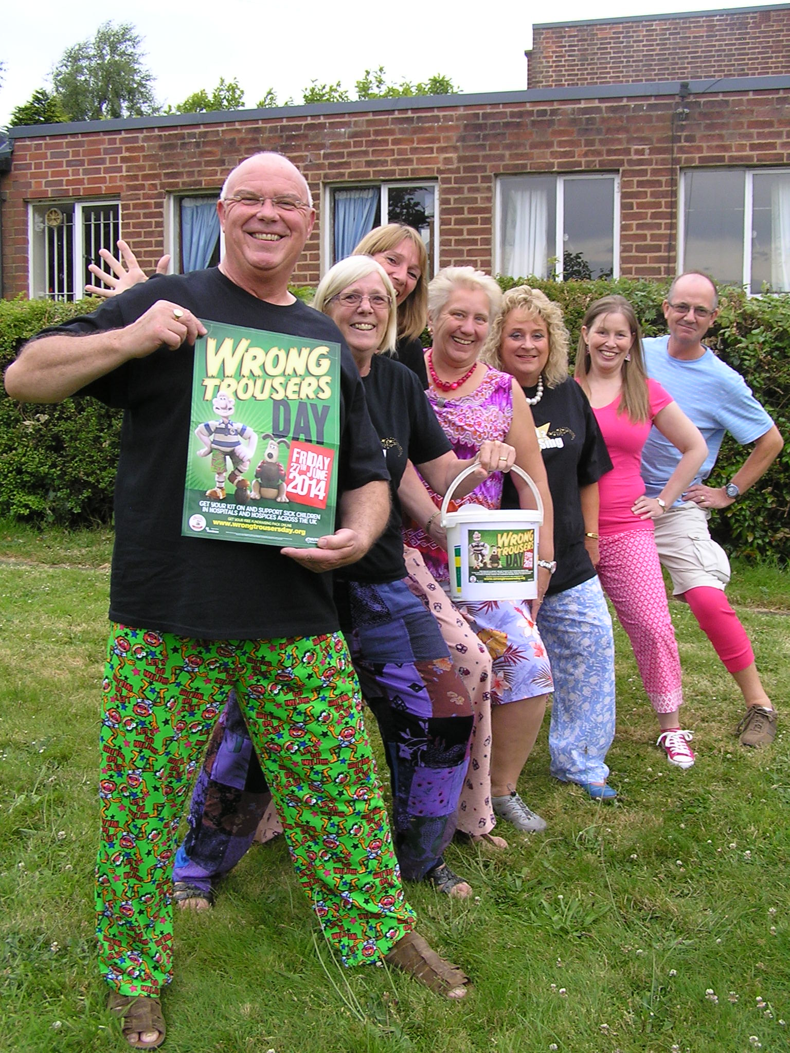 Choir members wearing the wrong trousers from l-r Richard Conway, Margaret Horn, Paula Sutton, Helen Needham, Nicola Mallaband, Louise Pierce, Tim Mallaband.