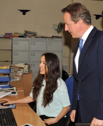 Prime Minister David Cameron chatting to Stourbridge News chief reporter Bev Holder. Buy photo: 281424L