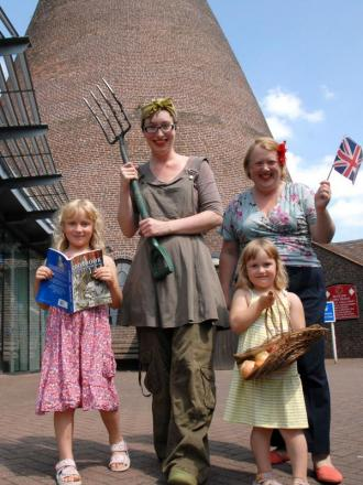 Ready for the 1940s weekend: l-r Hannah Shaw (aged six), Amy Shaw, Harriet Shaw (aged three) and Sarah Hall. Buy this photo: 301427M