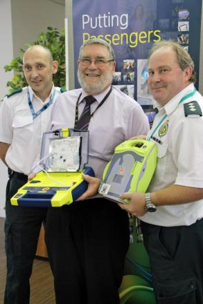 L-r - Community defibrillator facilitator Stuart Grainger, Centro's Dave Hadley and community response manager Andy Jeynes.