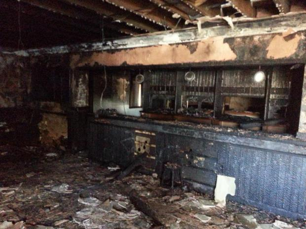 The fire destroyed the ground floor of the pub. Photograph by @Stourbridgefire.