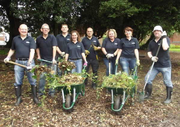 Eaton volunteers, left to right, Graham Read, Steve Allsopp, Dale Webb, Becky Noble, Mel Whitbread, Jo Kelly, Angela Hayes-Sinclair and Jeff Nelson