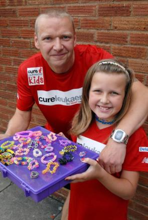 Martin Gibson and daughter Lydia fundraising for Cure Leukaemia. Buy this photo: 341412M.