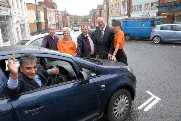 Traders and councillors admire the new parking bays: l-r Cllr Khurshid Ahmed, John Tipper, Linda Matthews, Cllr Pete Lowe, David Harcourt and Jaqueline Webb. Buy this photo: 351418M.