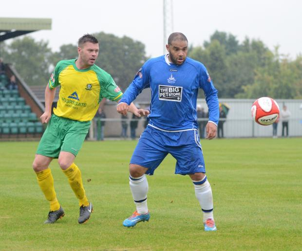 Iyseden Christie's goal against Barwell gave the Yeltz their first win of the season. Photo by Dave Hawley.