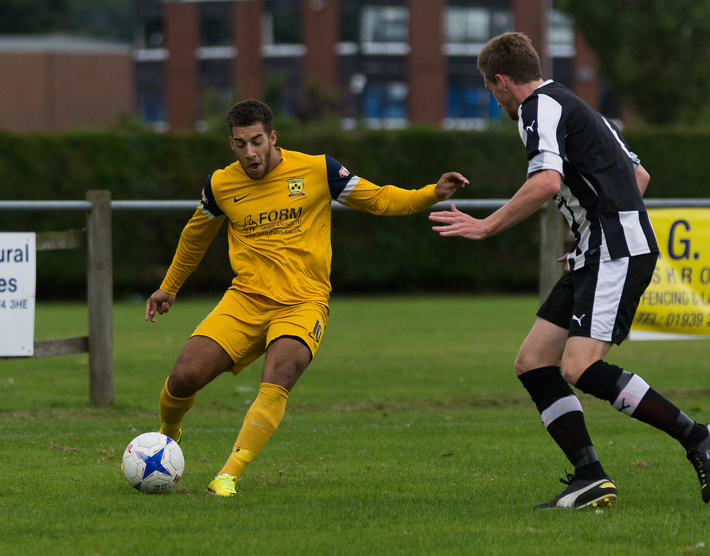 l Tividale's Lewis Taylor-Boyce in action in the FA Cup. Photo courtesy of Tividale FC.