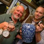 Stourbridge News: Steve Bubb, left, with his watches and Phil Sims from Sims Vintage with the ginger pot. Buy photo: BMM381407a