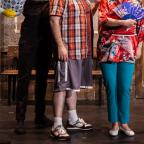 Stourbridge News: Tom Steedon, left, as Princeton, Richard Morse, centre, as Brian, and Jacqueline Tate, right, as Christmas Eve. Pic courtesy of Darren Bell.