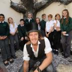 Stourbridge News: Black Country artist Luke Perry Sculpture unveiling his sculpture with pupils from Timbertree Academy in Cradley.
