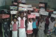 Youngsters were delighted to receive the shoeboxes shipped out in time for Christmas.