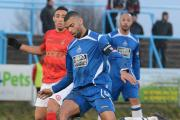 Yeltz defender Curtis Tilt helped keep promotion contenders Ilkeston at bay. Photo by Dave Hawley.