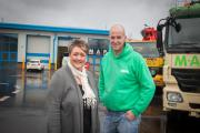 Paula James, of LCP, welcomes Mark Phillips, director of Map Concrete, to Progress Point at Pensnett Trading Estate.
