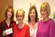 L-r - consultant oncologist Dr Rozenn Allerton, Edna Drake, with Gloria's daughters's Wendy Gibson and Julia Horton.