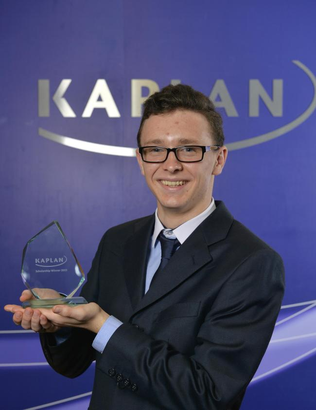 King Edward VI College student Dominic Morgan, of Hagley, collecting his Kaplan Accountancy Scholarship. Photo by Adam Fradgley.