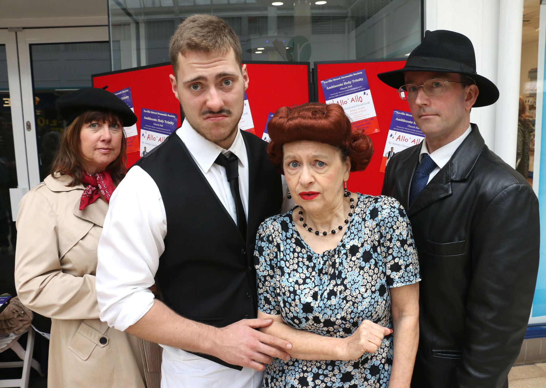 L-r Carey Esthop (Michelle), Tom Dallaway (Rene), Gaynor Wiltshire (Edith), Lee Morgan-Salcombe (Herr Flick)