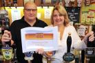 Steve and Dawn Bubb, of Clent Community and Social Club, celebrate winning the 'club turnaround' prize at the recent 2015 Club Mirror Awards