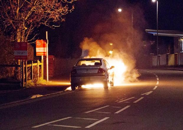 Car fire outside Stourport's Tesco store. Picture by Gail Braznell