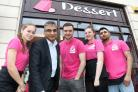 Ana Wilson, Cllr Khurshid Ahmed, Matthew Broadhouse, Carly Sadler and manager Zeyan Iqbal outside one of Dudley's newest businesses, Dessert Corner