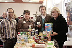 Left to right, James Treasure, senior minister at Chawn Hill Church, Wendy Fryatt - Stourbridge Food Bank co-ordinator, Des Tilby - chairman of Food Bank Steering Group, and Lynda Waltho.