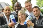 Former Albion stars James Chambers and Darren Moore with Amanda Bowen, of Mary Stevens Hospice, Mark Naylor and Matt Webb