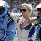 Stourbridge News: Lady Gaga goes for a drive with Mario Andretti at the Indy 500