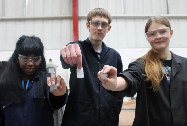 Year 10 students from Kingswinford School take part in Stourbridge College's 'aspire to be an engineer' activity as part of the recent careers day