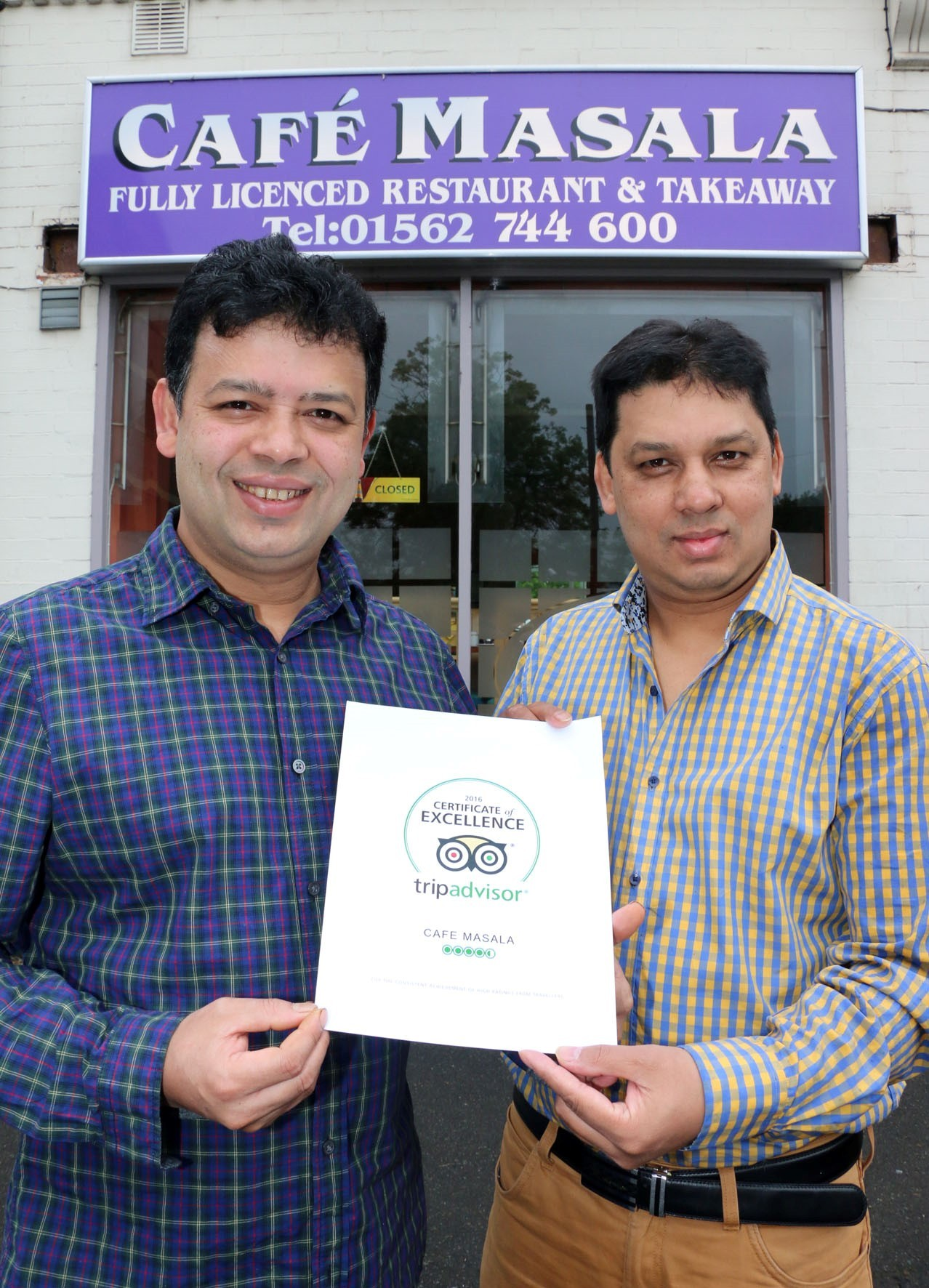 Mokbul Hussain and Hussain Moshahid from Cafe Masala, in Mill Street, Kidderminster, have been awarded a Certificate of Excellence from TripAdvisor for the second year running