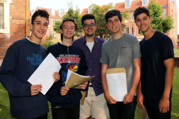 OSH A-level high fliers - l-r - Sam Mc Cafferty, Alex Brindley, Talal Al-Khamiri, Harry Payne, Arun Chalotra. Pic by Miriam Balfry