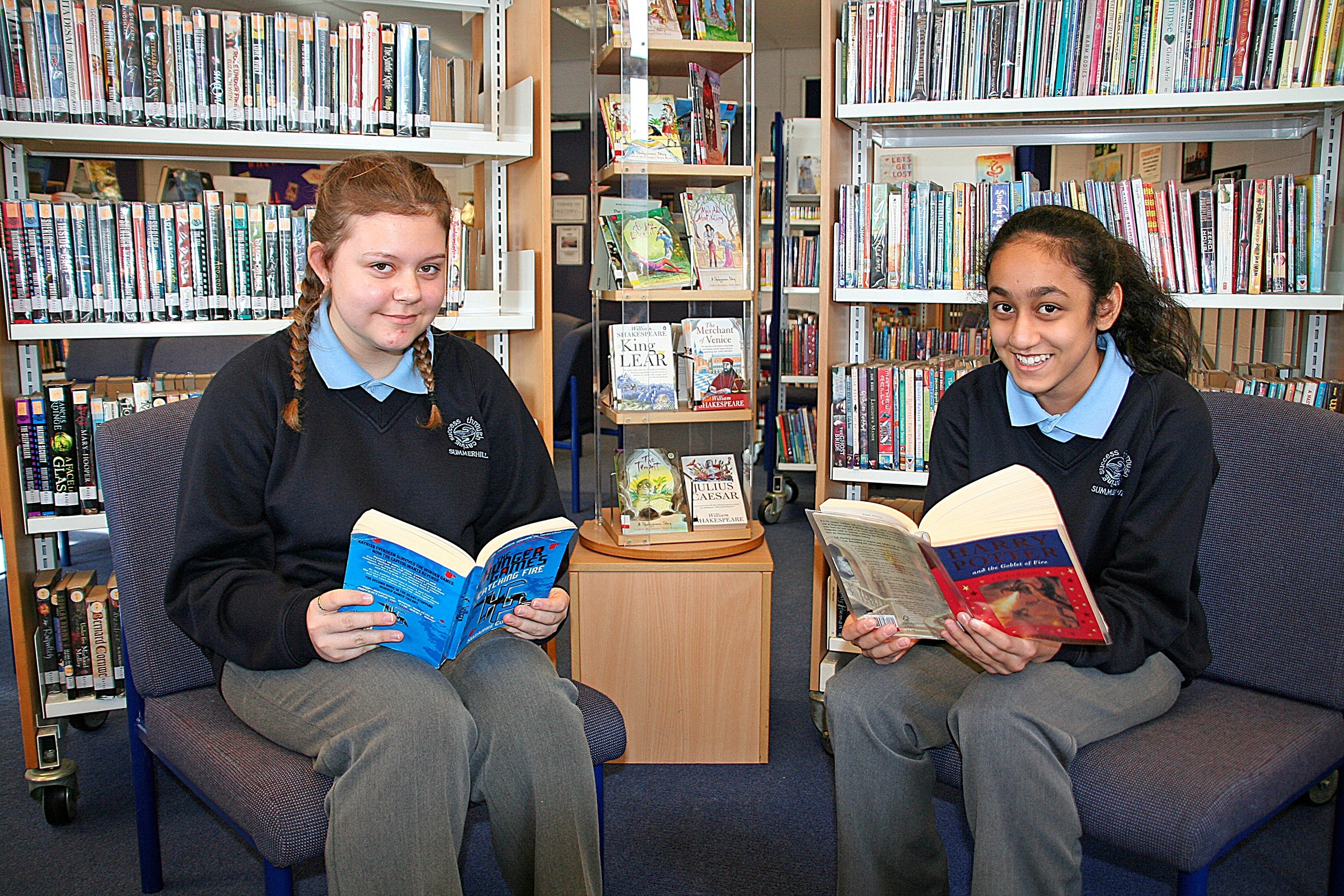 Summerhill School students Alice Mills-Adams and Iman Ghefoor have both read over one million words in two month. Photo: Summerhill School