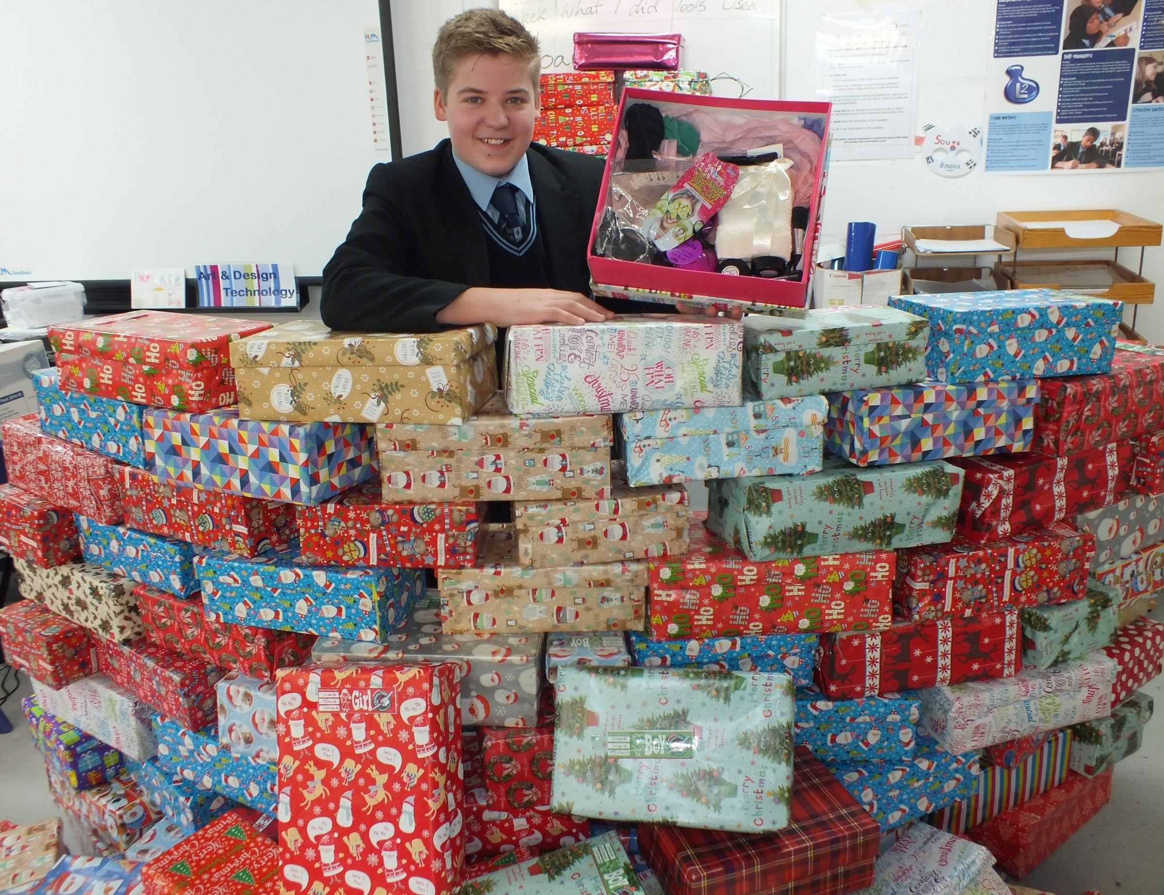 Pedmore Technology College year 9 pupil Louis Gaskin led his school's record-breaking Operation Christmas Child shoebox collection. Photo: Pedmore Technology College