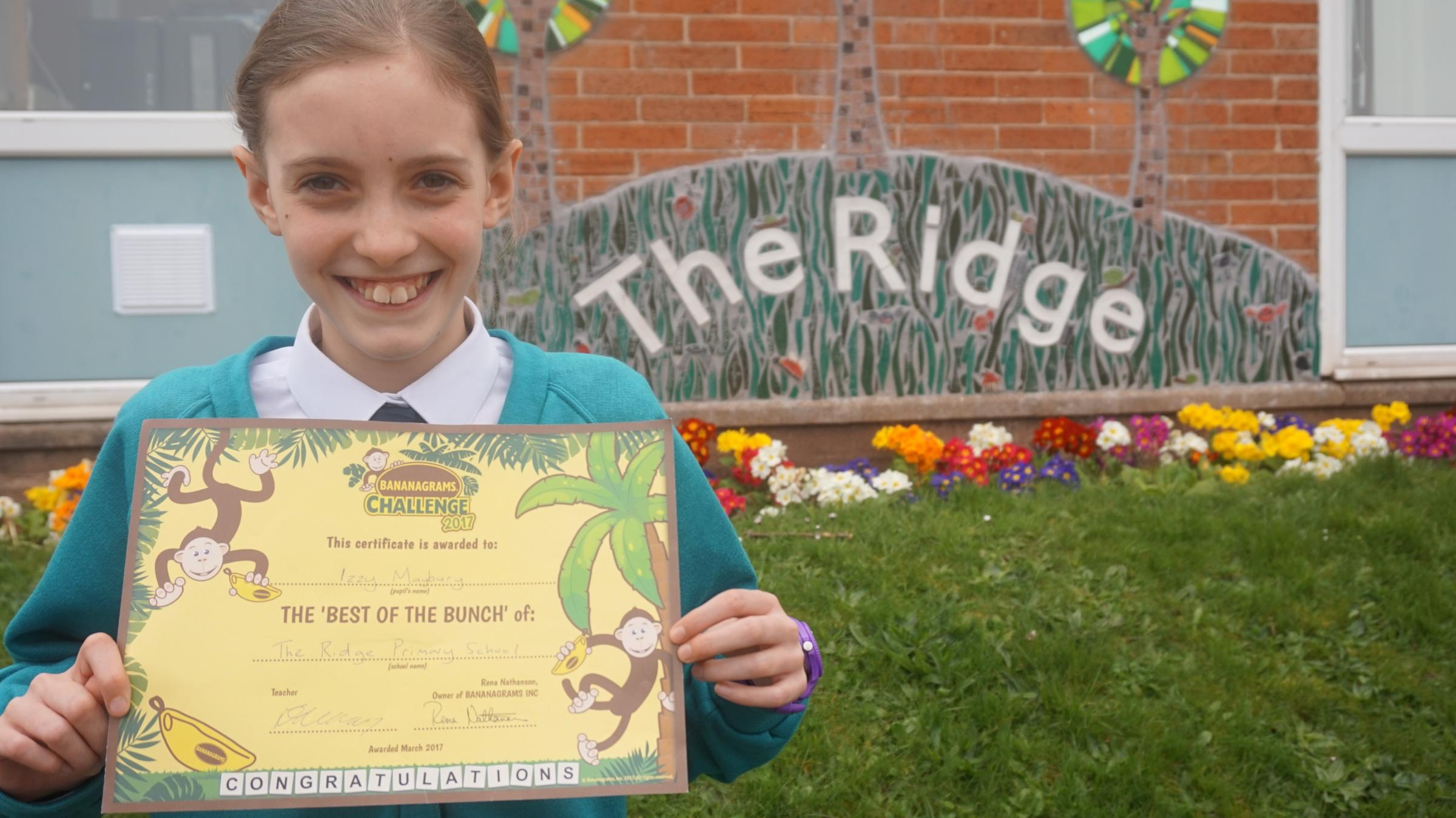 Izzy Maybury, of The Ridge Primary School, has made it into the final 12 of the national Bananagrams Challenge. Photo: Bananagrams
