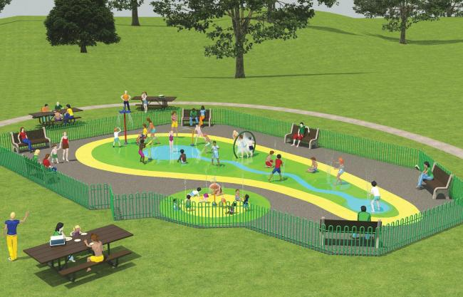 An artist's impression of Mary Stevens Park's proposed new water play area. Pic by Vortex